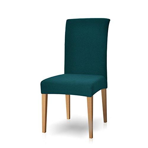 Subrtex spandex coprisedie con schienale copertura della sedia da pranzo, copertura protettiva modern elastico rimovibile lavabile anti scivolo (4 pezzi, blu verde)