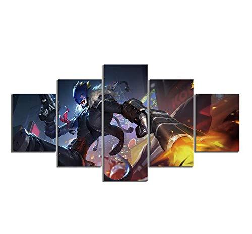 JRDWLH Leinwanddrucke 5 Stück Digitale Monster Anime Poster Hd Cartoon Digimon Bilder Wand Kunst Wohnkultur Beelzemon Gemälde (B) Mit Rahmen-Gemälde