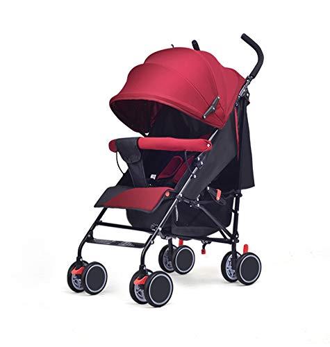 QZX Carrito de bebé Sistema de Viaje de Silla de Paseo Plegable Freno Doble Rueda Doble Respaldo Regulable Cinturón de Seguridad de 5 Puntos Rueda Delantera direccional 360 ° Adecuado para 0-36 Meses