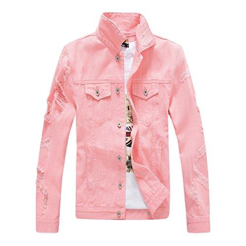 Yiiquan Uomo Denim Giubbotto Slim Fit Trucker Jacket Strappati Giacca di Jeans Tinta Unita (Rosa, Asia 3XL)