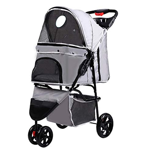 MZP Hundewagen Hundebuggy Mit Klappfunktion Und Praktischer Einkaufstasche Flexible Pet Roadster Hochwertig Stabil Maximale Gewicht 20 KG (Farbe : Silber) -