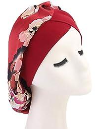 a1546ecd4911 Chapeau Bonnet de Nuit Sommeil Femme en Satin Coiffure Soin Cheveux Imprimé  Floral Polyester Protéger Les