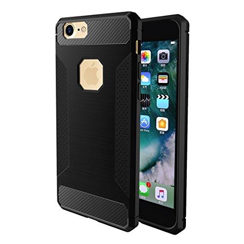 BING Für iPhone 6 / 6s, gebürsteter Carbon-Faser-Beschaffenheit Shockproof TPU schützender Abdeckungs-Fall BING ( Color : Red ) Black