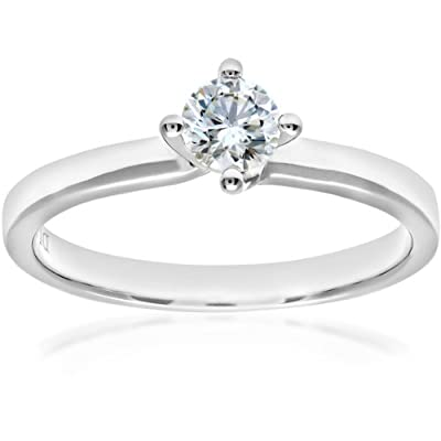 Naava 18ct White Gold Twist Head Solitaire Engagement Ring, G/SI3 EGL Certified Diamond, Round Brilliant, 0.35ct