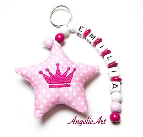 AngelicArt Namenskette/Schlüsselanhänger mit Namen, personalisiert, Verschiedene Modelle für Schultaschen, Kita-/Wickeltaschen für Babys und Kinder (pink, rosa, Krone)