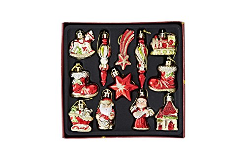 (Heitmann Deco Weihnachtsbaum-Schmuck - Behang-Set aus Kunststoff - 12-teilig - rot/gold - Christbaum-Anhänger)