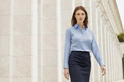 Fruit Of The Loom - Camicia Maniche Lunghe - Donna blu navy