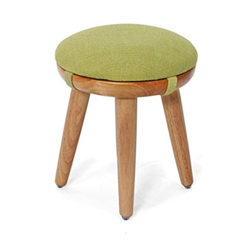 Ren Chang Jia Shi Pin Firm Wohnzimmer Massivholz Esstisch Hocker einfache Eiche runden Hocker (Color : Green, Size : 31 * 30cm)
