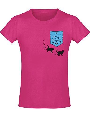 Kinder T-Shirt Mädchen: Katzen Fische - Kinder T-Shirt Tiere - Lustiges Kinder Shirt - Coole Kinder Kleidung - Tiermotiv Kind - Niedlich Design-er Kindershirt -152, Nr.B0857 (Mädchen-designer-kleidung)