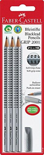 Faber-Castell 117197 - 3 Bleistifte GRIP 2001 mit Gummi-Tip, Härtegrad: HB, Schaftfarbe: silber