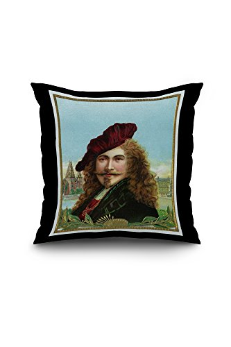 rembrandt-brand-cigar-box-label-famous-dutch-painter-18x18-spun-polyester-pillow-case-black-border