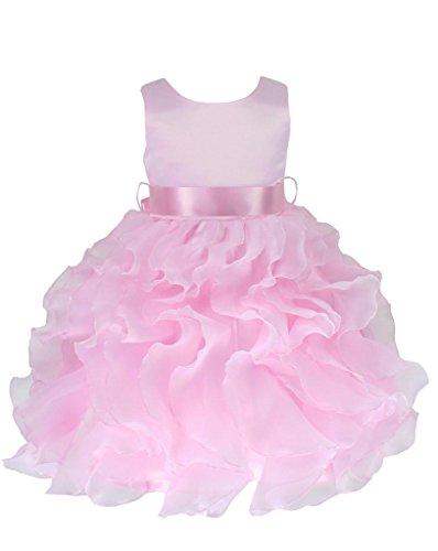 Go2victoria Organza abito da sera, bambine e bimbe, battesimo, vestito 6 mesi, rosa (P232b-S)