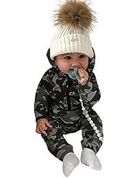❤️ Modaworld Monos para Unisex bebé Niñas Niños Manga Larga Otoño Invierno 2018 Monos de Mameluco con Capucha y Estampado de Camuflaje Bebés Trajes de Ropa
