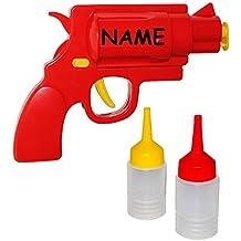 """"""" Pistole """" - Senf & Ketchup - Spender - incl. Name - Grillen / Senfspender - Quetschflasche lustig - Dosierflasche für Sossen - Kunststoff Sossenspender Ketchuppistole / Sauce / Saucenspender - Flasche Ketschupspender - Gastro"""