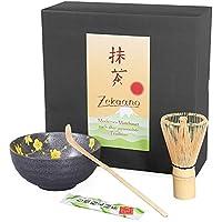 Té Matcha Juego de 3piezas, antracita amarillo, compuesto de té Matcha–Bol, cuchara de té Matcha (y escoba de té Matcha (bambú) en caja de regalo. Original Aricola®