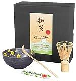 Matcha-Set 3-teilig, 250ml anthrazit gelb, Bestehend aus Matcha-Schale, Matcha-löffel und Matcha-Besen (Bambus) in Geschenkbox. Original Aricola®