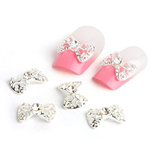 Internet 10 x 3D Silver strass Bow Tie Nail Art Glitter Slices bricolage Décorations New