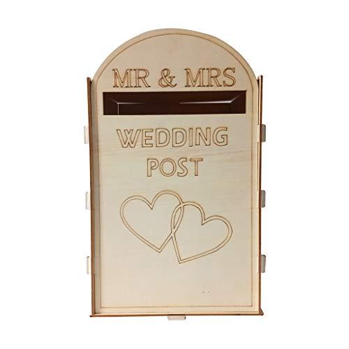 Hölzerne Hochzeit Supplies Mailbox, feste Kiefer komplett montiert personalisierte Hochzeit Karte Briefkasten, zarte Royal Mail Style Ornamente, 33 x 20 x 20 cm, Karte Briefkasten für Parteien (Gelb)