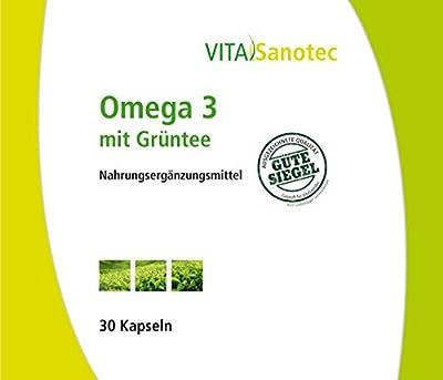 Vita Sanotec Omega 3 mit Grüntee, 30 Kapseln - Nahrungsergänzungsmittel mit Omega 3 Fettsäuren, Grüntee-Extrakt und Guarana-Extrakt mit natürlichem Koffein