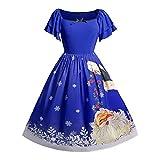 Weihnachtskleid Damen Elegant Kleider Weihnachten Übergröße Bowknot Santa Gedruck Großer Ausschnitt Faltenrock Partykleid Vintage Swing-Kleid Cocktailkleid (L-5XL)