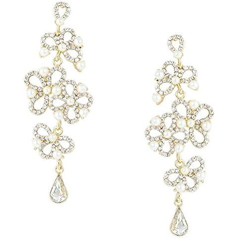EVER FAITH® Teardrop Bowknot colore avorio orecchini di perle cristallo Gold-Tone