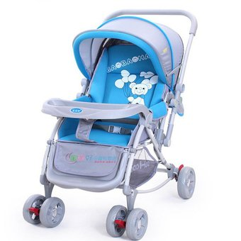 Baby Bucket Pram Cum Stroller cum rocker With Canopy - Blue And Grey  available at amazon for Rs.6150