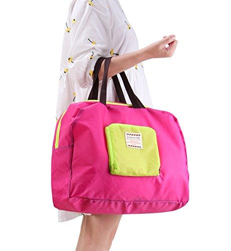 HilltopToCloud Handgepäck Schultertasche Einkaufstasche Shopper Faltbare Multifunktionale Tasche für Reisen Sport Gelbrot