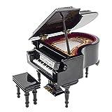 Odoria 1/12 Miniatur Klavier mit Hocker Spieluhr und Koffer Für Musikinstrument Puppenhaus Dekoration Zubehör