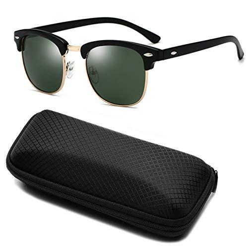 Yidarton Sonnenbrille Damen Herren Klassische Polarisiert Retro Unisex Halbrahmen Sonnenbrille UV400 Sonnenbrille verspiegelt Brillen mit Etui (2-Dunkelgrün)