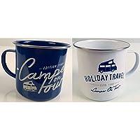 Universal TextilesHoliday Travel Enamel Camping Mug Set (Pack Of 2) (One Size) (White/Blue)