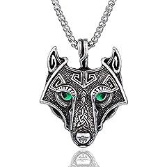 Idea Regalo - Queta Unisex Unico argento antico Verde smeraldo Occhi vichingo lupo ciondolo testa collana argento antico per le donne degli uomini