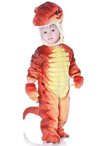 T-Rex Dinosaurier Kostüm für Kinder 4teilig Dino Kinderkostüm - rot/gelb (Rex Kinder T Dinosaurier Kostüm)