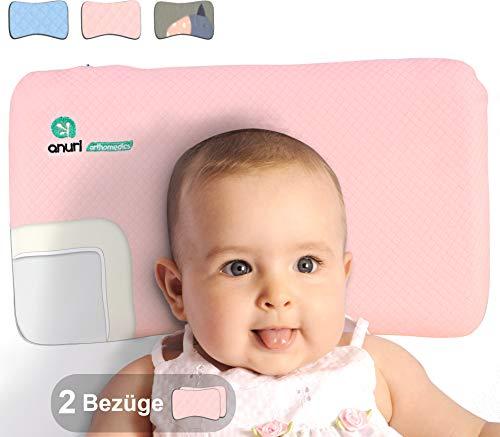 ANURI | Babykissen gegen Plattkopf I 2-SCHICHTEN I Anti-Allergen Memory-Schaum | Wolkenrosa