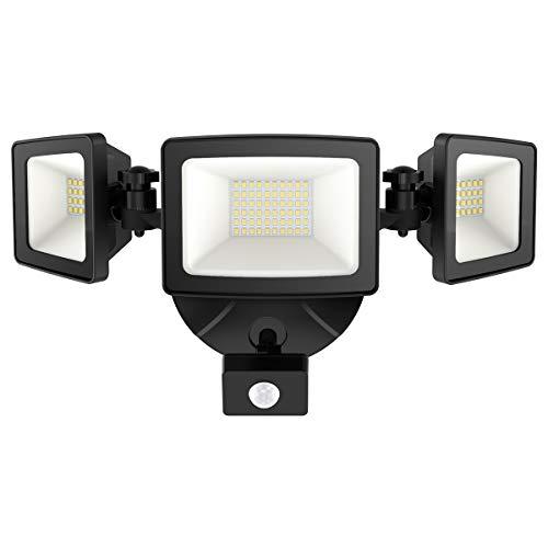 Onforu 50W LED Strahler mit Bewegungsmelder, 5000LM Superhell Außen Fluter, IP65 Wasserdicht PIR Außenstrahler mit 3 Köpfe, 5000K Tageslichtweiß Sensor Flutlicht Außenleuchte für Garage, Garten, Hof