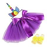 COUXILY Mädchen Tüllrock Tutu Ballettrock mit Einhorn Horn Unicorn Haarband Ohren und Blumen für 0-2 Jahre (Violett)