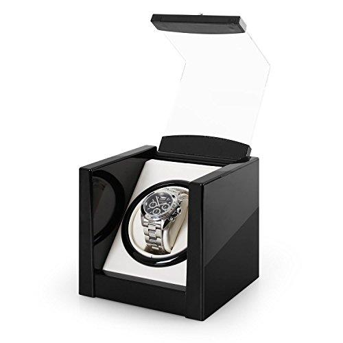 Klarstein 8PT1S Uhrenbeweger Uhrenbox (für 1 Uhr, linkslauf/rechtlauf, Sichtfenster, Kunstleder Inlay, flüsterleiser Motor) schwarz-Pianolack - 4
