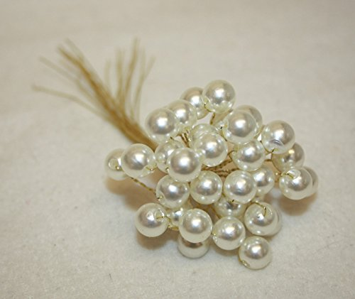 3 SPRAYS OF HUGE 10mm CREAM large pearls on wire wedding flowers bouquet buttonhole jewelry (cream on gold wire, 3)