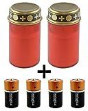 LED Grablicht / LED-Grabkerze 2er SET mit Schalter & 4 Stk. Duracell PLUS POWER Baby C, Batterien