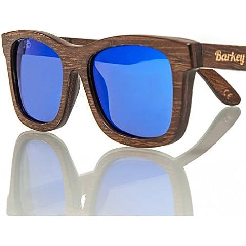 Barkey - Horizonte Blu Lens - Occhiali in Vero Legno di Alta Qualità - 100% Fatti a Mano - Lenti Polarizzate