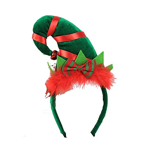 ZHRUI Weihnachtsdekorative Stirnband Cute Elf Cosplay Weihnachtsfeier Zubehör (Farbe : Grün, Größe : Einheitsgröße)