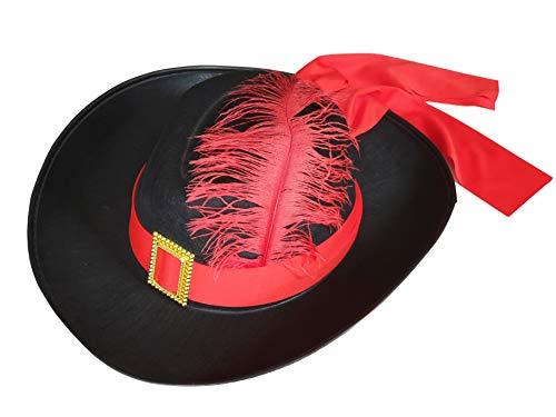 Fun-Fashion D'Artagnan Musketier Hut mit Feder und Hut-Band - schwarz/rot - (Spanische Edelmann Kostüm)