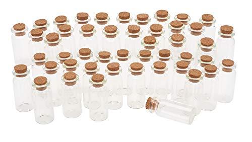 VBS Glasfläschchen mit Korken 10ml 48 Stück 5 x 2 cm hoch Mini Gläser Flaschen -