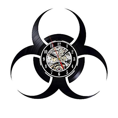 Evil Vinyl Clock - Videospiel Resident Evil Biohazard Vinyl Records Wandkunst Raumdekor Handgemachte Dekoration Party Supplies Thema - Beste Originelle Geschenkidee - Vintage Und Modernen Stil Mit Led
