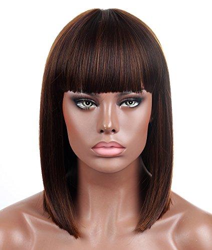 Kalyss stumpf Bob kurzes Haar Perücken für Frauen hitzebeständiges Yaki synthetisches Haar braune Haarsträhnen weibliche Perücke mit Pony(braun) (Perücke Haare Kurze Braune)