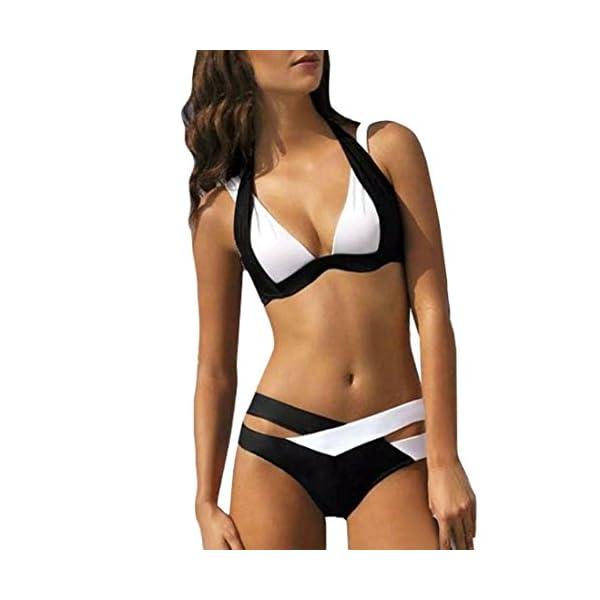 Maillot de Bain pour Femmes, Toamen Bandage Deux Couleurs Bikini Set Nager Plage Piscine (XL, Noir)