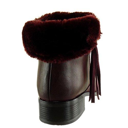Angkorly - Scarpe da Moda Stivaletti - Scarponcini cavalier donna pelliccia frange zip Tacco a blocco tacco alto 3.5 CM - soletta Foderato di Pelliccia Bordo