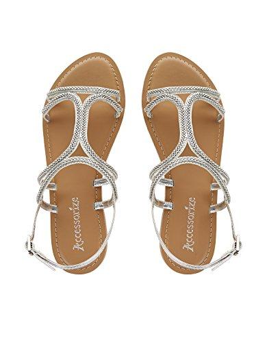 Accessorize Sandales ornées de chaînes grecques - Femme Argent