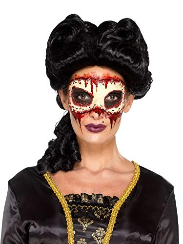 shoperama Prothesen-Maske fehlendes Gesicht aus Schaumlatex mit Kleber Applikation Haut FX Make-up Horror Halloween Damen Herren