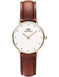 Daniel Wellington - 0900DW - Classy St Mawes - Montre Femme - Quartz Analogique - Cadran Blanc- Bracelet Cuir Marron