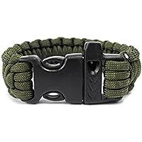 Pulsera de supervivencia, hunpta al aire libre Self-Rescue Cable de paracaídas pulseras silbato supervivencia Camping Kit de viaje, Army Green